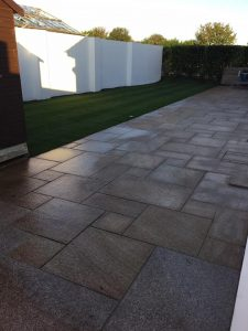Mandy Hardman new Guernsey patio Bernie's Gardening Services