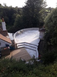 Landscape design landscaping curved patio decking tree removal Guernsey Bernie's Gardening Services