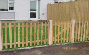 front garden wooden picket fence in Guernsey.