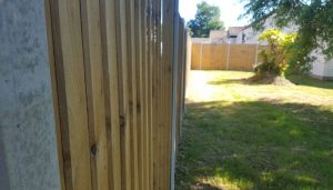 Close-up of the wooden fence panels we use on our fences.