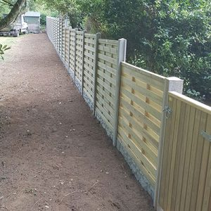 Medium height fence with a wooden gate.