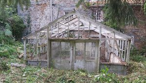 Close up of broken greenhouse door and window with green mould growing.