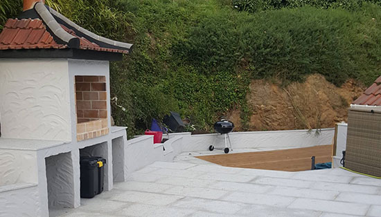 We have created a stunning bespoke outdoor bbq as part of our stonemasonry and hard landscaping service.